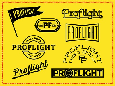 Go Proflight! vector vintage custom type retro badge disc golf