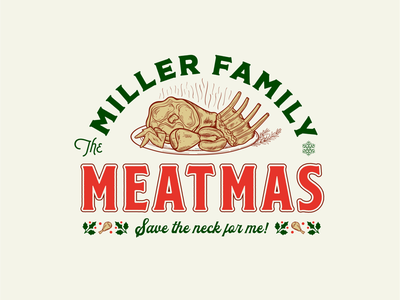 Meatmas meat holiday vector badge christmas