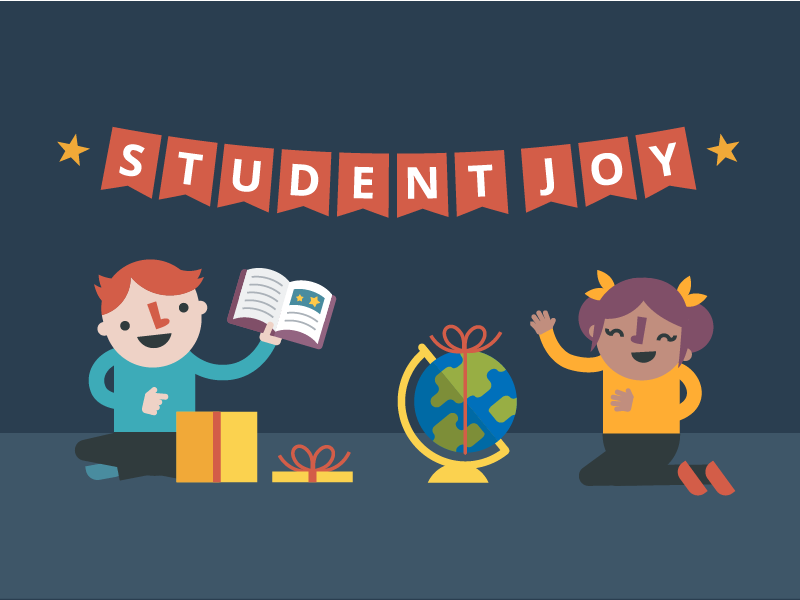 student joy about the world