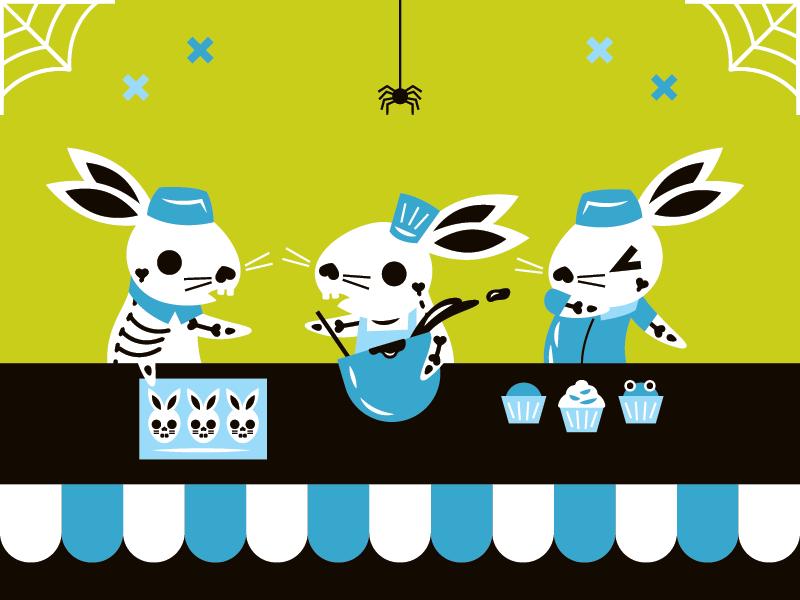 scary skeletal bunny bakers halloween rabbit bunny beer
