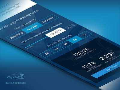 Auto Loan Financing Calculator slider selector calculator responsive prototyping auto navigator capital one iphone mobile flat ux ui