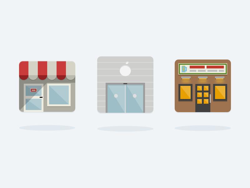 Places Icons shop store buildings building icons
