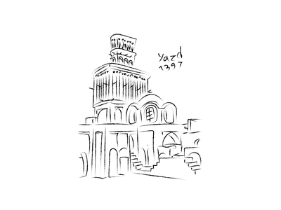 Yazd - یزد line art dribbble black illustration illustrator design hessanmadr یزد yazd