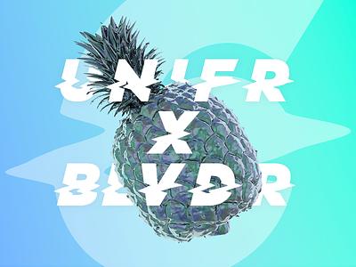 UNIFRxBLVDR chrome radiant 3d pineapple