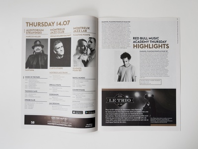 Montreux Jazz Chronicle layout newspaper program graphic design editorial
