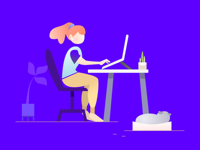 Working from home graphic web vector illustration