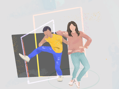Couple postcard procreate illustration graphic