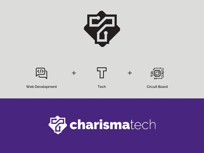 charisma tech web dev web development web developer circuit board minimalism symbol shapes logo branding tech company visual identity logotype logo design