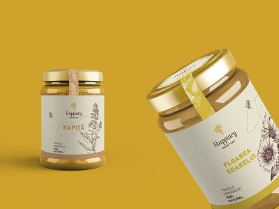 Happiary - Label Design package packaging packaging design illustration honey bee honey jar label design honey label honey