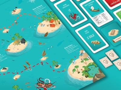 Island Run - boardgame map design isometry isometric design illustration card game game design board game branding