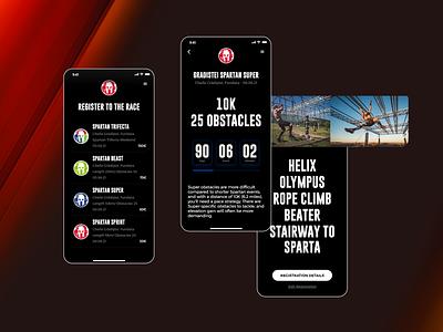 SPARTAN app mobile web design website design app design dark mode dark ui type spartan race spartan registration page ticket app ui design ux ui minimalism