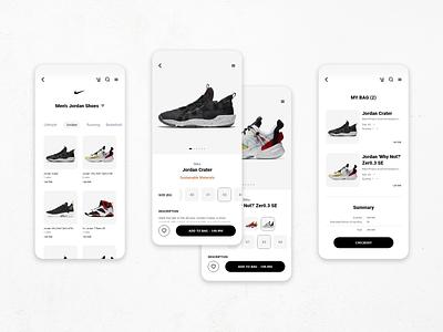 Nike Shop UI ui  ux cart ui cart page shop ui shop app nike nike air jordans nike air max nike shoes ui design uidesign design ux ui minimalism