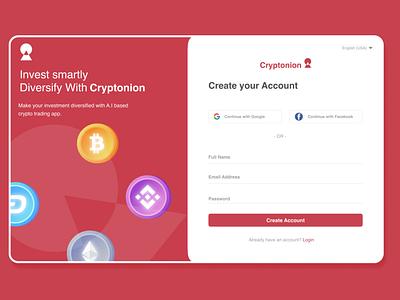 Cryptonion - crypto trading app ux ui illustration design