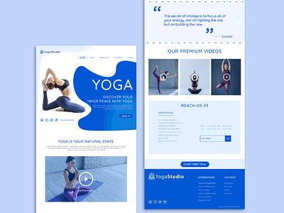 Yoga Fitness Web Design & Development | Free PSD illustration ui design webdesign web development web design outsource2bd web design service fitness web development yoga web design