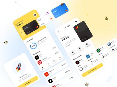 Banking App transaction application cards user interface ui design cashback fintech app finance app banking app investment banking finance fintech ui  ux mobile uiux app ux ui design