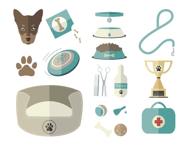 Dog World Vector Icon Set scissors pipette shampoo frisbee ball bone collar leash food bowl water bowl bed first aid kit footprint set icon vector animal trophy treat dog