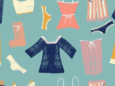 Hanging clothes seamless pattern.