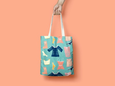 Tote bag. Colorful hanging clothes seamless pattern.