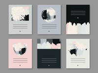 Set of abstract vector art cards in pastel colors.