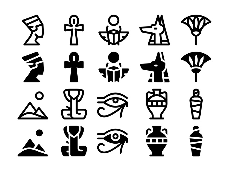Ancient Egypt Icon Set horus snake pyramids nefertiti symbols travel design anubis collection illustration scarab mummy symbol set vector ancient icon icons egyptian egypt