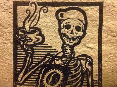 The Barista coffee barista skeleton illustration print