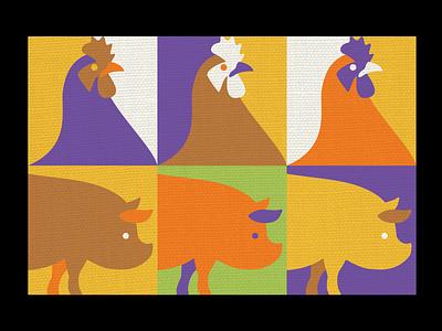 Free range farming illustration packaging design print illustration