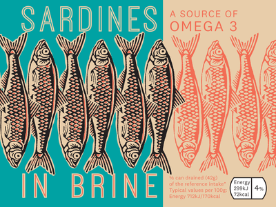 Sardines packaging typography vector design