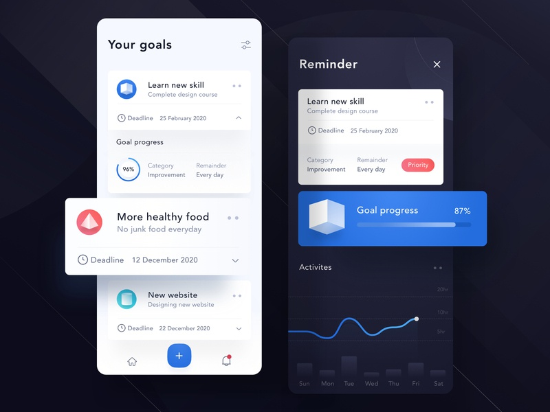 Goals mobile app design ⭐️ menu list line landing icon website illustration app ui android chart dashboard profile card mobile clean goals 3d shape dark