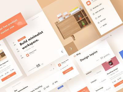 Go Blog post design 💡 number ios icon menu card blog brown orange image landing profile chart branding ui mobile app illustration dashboard clean website
