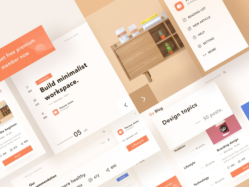 Go Blog post design 💡 number ios icon menu card blog brown orange image landing profile chart branding ui mobile app illustration dashboard clean website
