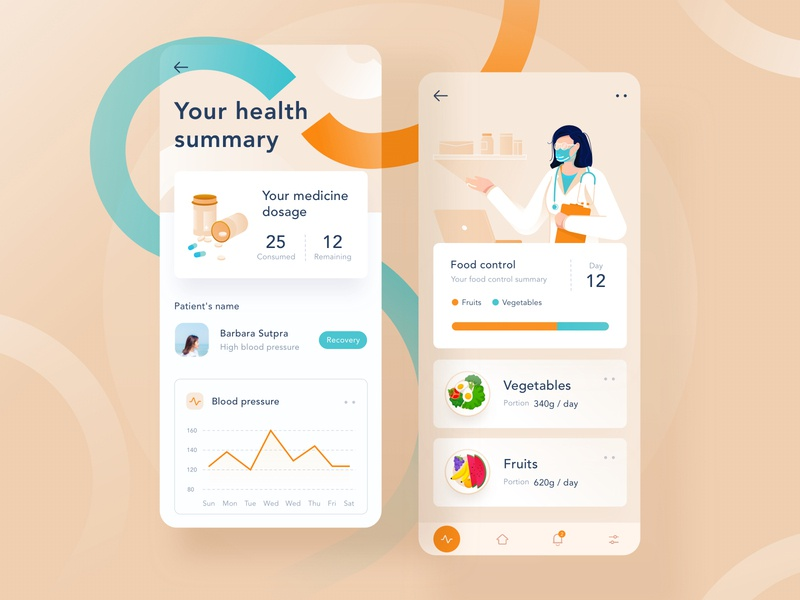 Health controller app landing modern clean website dashboard ui menu app mobile profiles chart orange blue pastel medicine medical illustration profile doctor health