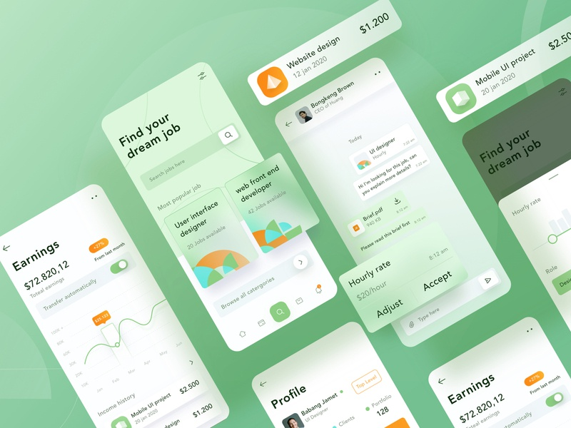 Job finder mobile design 💼 finder freelancer money 3d chat green ios search filter jpb landing android profile chart mobile app illustration dashboard website clean