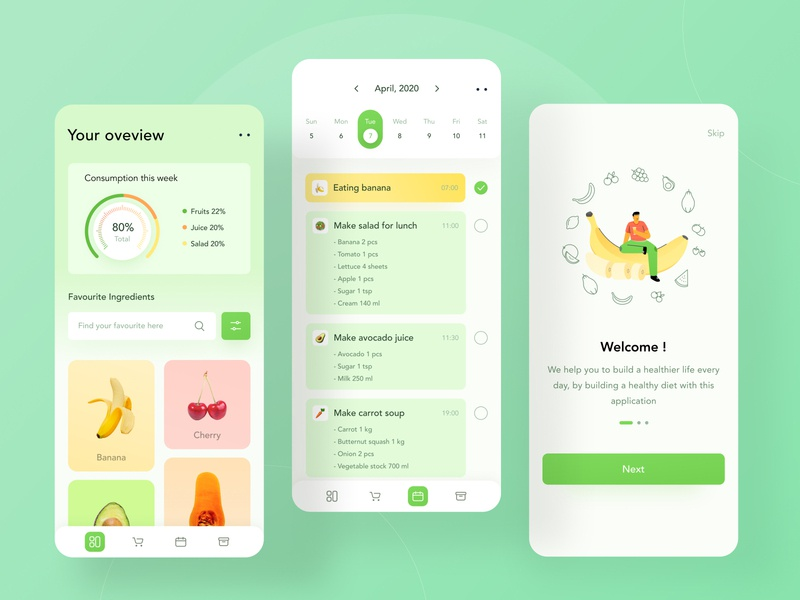 Healthy food everyday 🌼 calendar date illustrations onboarding card to do profile chart ui mobile illustration dashboard website clean health app yellow fruits green health food