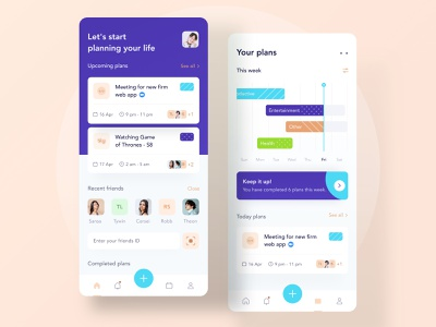Plan your day 🥳 menu nav daily business blue green ios planner purple android landing ui profile chart illustration mobile clean website dashboard timeline