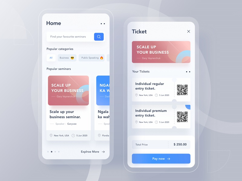 Seminar app mobile design clean money pay home banner pattern search card whote android landing profile ui chart app illustration dashboard website ticket seminar