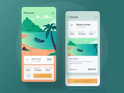 Trip mobile app ui landing android minimal blue icon dashboard website mobile ios mountain ticket card greent clean illustration beach trip