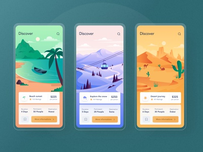 Trip mobile app interaction 🥳 details ticket card chart illustration dashboard interface motion ios mobile green desert beach travel trip interaction design video animation prototype interaction