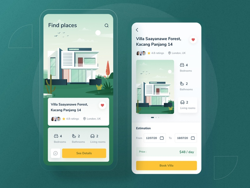 Villa finder app clean modern icon minimal dashboad homepage details card green home ios android landing profile chart app mobile illustration dashboard website