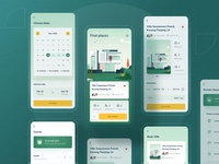Villa finder app rebound profile ui chart dashboard website landing marketing illustration home room green travelling vacation ios details calendar book properties