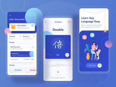Odading App - Learning Mobile App Design 📖 sound icon process award ui profile chart clean voice landing page community white blue anrdoid ios dashboard onboarding card illustraion learning