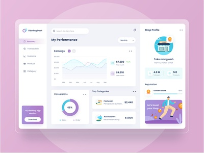 Sales dashboard design 📈 desktop website app profile logo wallet transaction product business money purple blue data ui chart illustration icon marketing sales dashboard