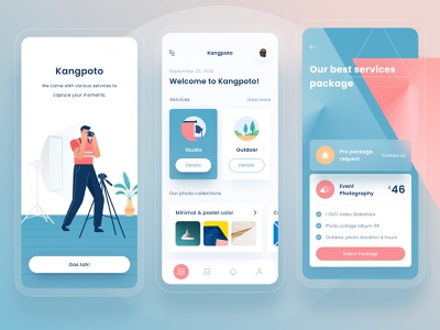 Kangpoto mobile package triangle business 3d app android design dashboard profile mobile landing card gradient chart ui onboarding illustration pricing green photo