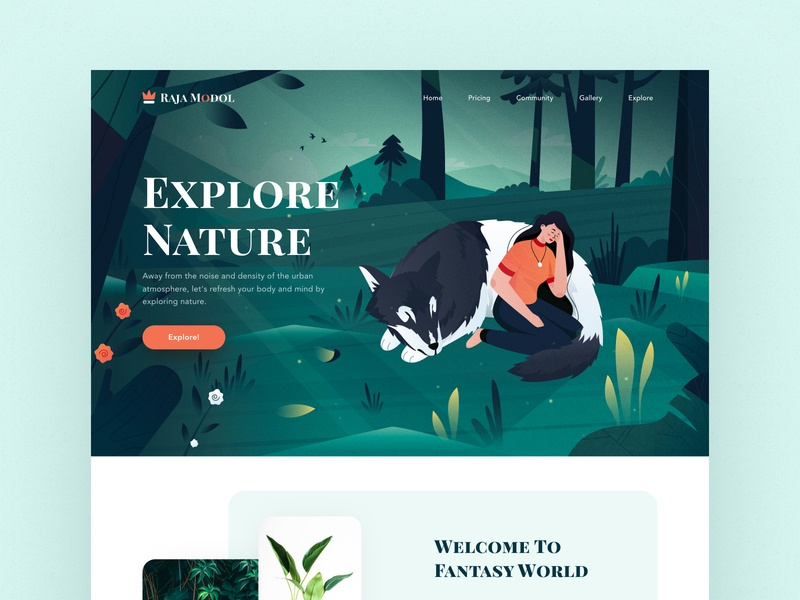 Rajamodol landing page title nature tree dashboard clean logo mount women wolf jungle ui profile websites header ios mobile desktop website landing illustration