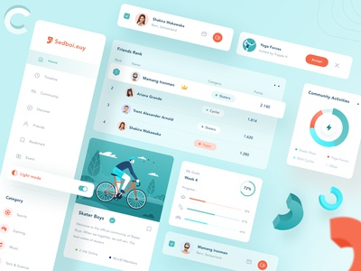 Community UI kit design video menu sport card green logo icon android mobile profile ios desktop website dashboard chart illustration ui design community kit ui