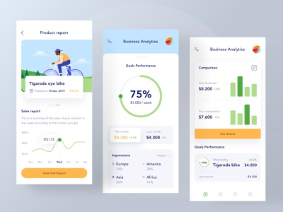 Business analysis mobile app income marketing product startup card app ui clean profile landing nav buy website illustration green ios mobile graphic chart business