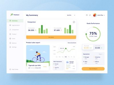 Business analysis dashboard card business ui landing header mobile yellow marketing chart illustration blue green buy shop clean dashboard desktop report profile sell