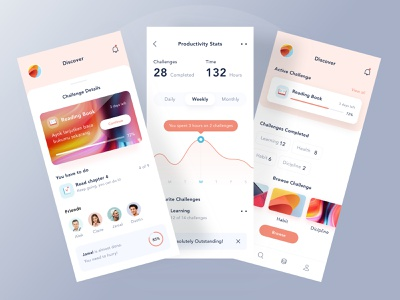 Challenge mobile app mobile app dashboard website logo clean illustration icon ui image profile statistic gradient orange ios app mobile ui productive challange ios mobile card