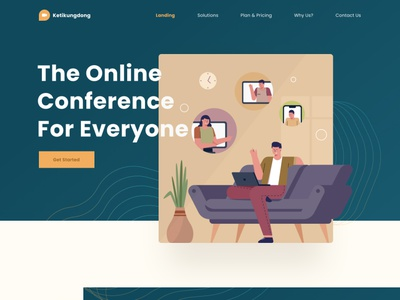 Katikungdong landing page 🤩 feature minimal clean logo website dashboard mobile profile ui testimonial blog video pastel green header illustration landing page home web landing
