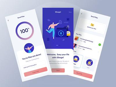 File upload mobile design header card link android phone profile ux clean dashboard logo website landing chart ui loading illustration upload file ios mobile