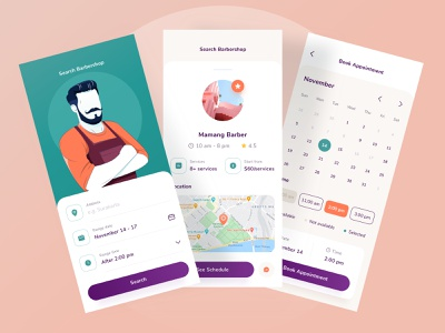 Barber booking app 💈 hairstyle hair man website dashboard barbershop shop profile clean onboarding illustration map time landing barber calendar date android ios mobile